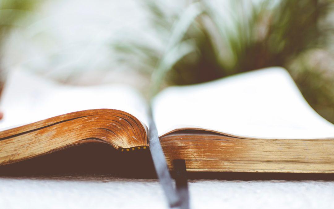 open religious book on white surface